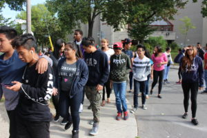 Students leaving Greenwood SS to embark on annual Terry Fox Run in 2015